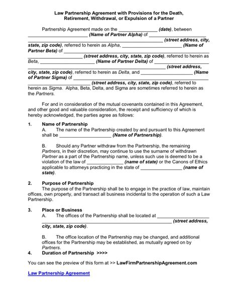 Law Partnership Agreement with Provisions for the Death