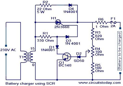 Battery Charger Circuit Using Scr Embedtronics For The