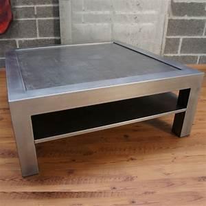 Table Salon Metal : table basse metal beton tablette rangement ~ Teatrodelosmanantiales.com Idées de Décoration