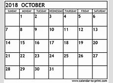 October 2018 Printable Calendar 2018 calendar with holidays