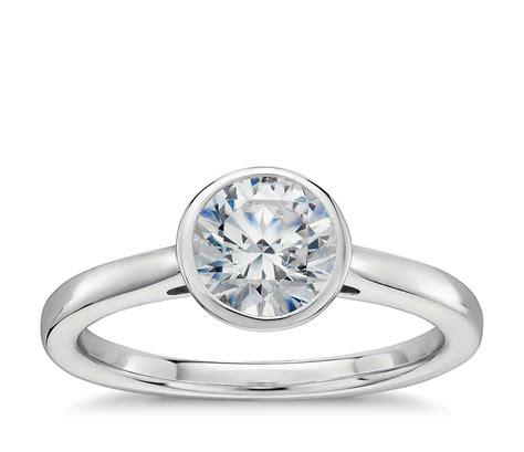 silver wedding bands bezel set solitaire engagement ring in platinum