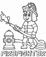 Coloring Firefighter Printable Professions Children Lady sketch template