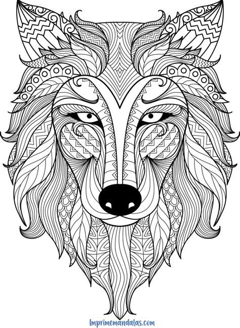 mandala lobo  imprime mandalas