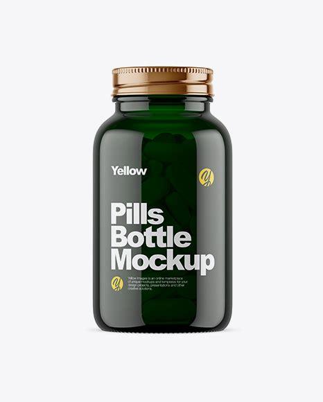 375ml green glass olive oil bottle mockup 43365 tif. Dark Green Glass Bottle With Pills Mockup - Green Glass ...