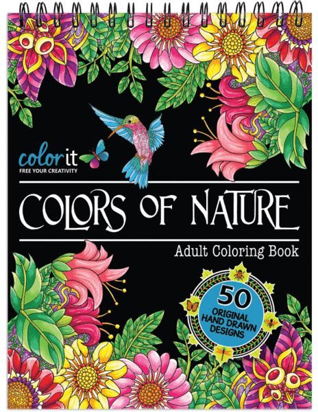 nature coloring book for adults with hardback covers