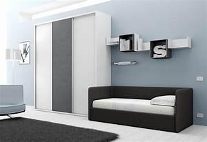 Chambre avec lit canape et armoire moretti compact so nuit for Recherche canape lit