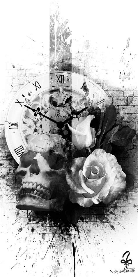 Tattoo, Photoshop, skull, Watch, rose, Burtscher N. | art