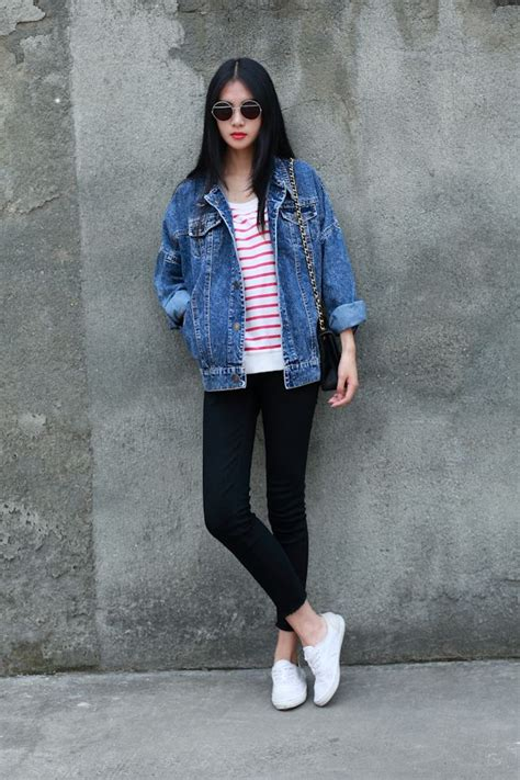 Jean jacket - the staple of a casual outfit | Dream Closet | Pinterest | Black blazers Striped ...