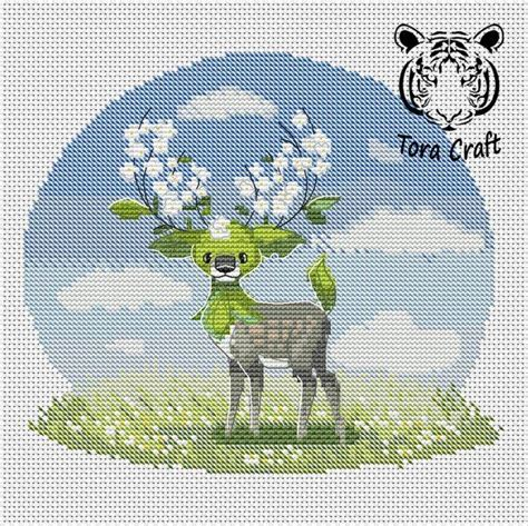 embroidery pattern easter spring blossom reindeer etsy