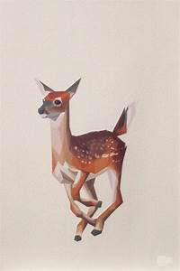 Geometric illustration, Bambi, Baby Deer, Animal print ...