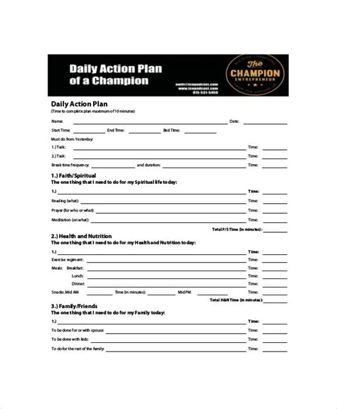 daily action planner template    documents