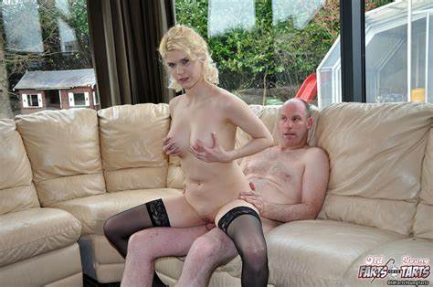Ripened Blondes For An Old Fart Ripened Blondes In Blacks Pantyhose Offers Her Bald Gash To