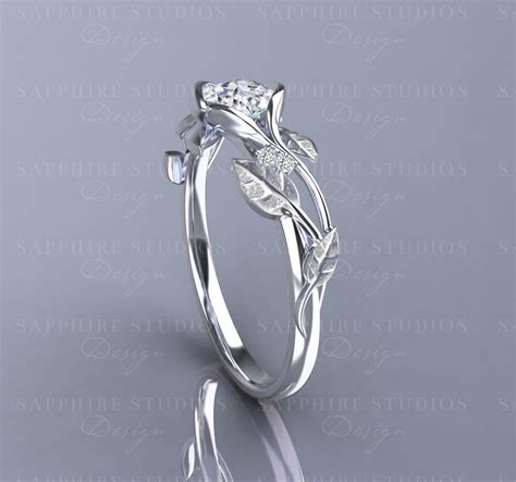 fleur 0 70ct gold flower vine engagement ring