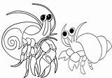 Crab Hermit Cartoon Coloring Cute Pages Children sketch template