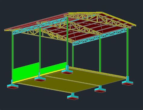 shed steel structure  autocad cad   mb
