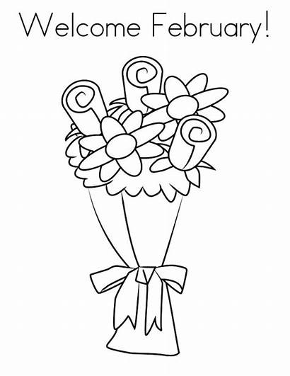 February Coloring Flower Printable Valentine Sheets Greepx