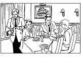 Restaurant Coloring Table Printable Talk Bar sketch template
