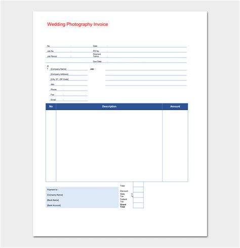 photography receipt template   word excel