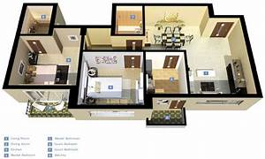 3D 3-Bedroom Houses Exterior 3D 3 Bedroom House Plans ...