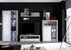 Lowboard Weiß Grau : wohnwand wohnzimmer set stone anbauwand beton grau wei beleuchtung 304cm ebay ~ Orissabook.com Haus und Dekorationen
