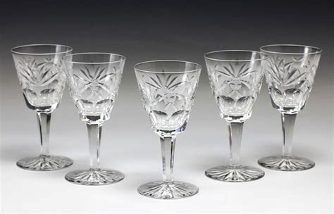 5pc Waterford Cut Crystal Claret Glasses Goblets Stemware