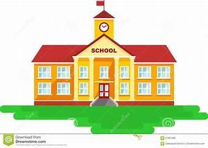 Schulgebäude In Der Flachen Art Vektor Abbildung - Bild ...