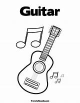 Coloring Guitar Pages Music Notes Printable Electric Guitars Sheets Colouring Musical Note Clipart Instruments Twistynoodle Templates Shania Twain Preschool Letter sketch template