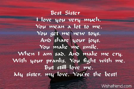sister sister birthday poem