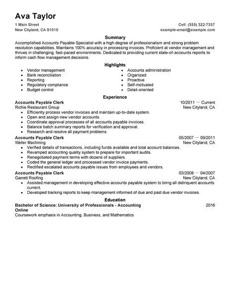 best accounts payable specialist resume exle livecareer