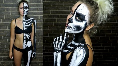 skelett gesicht schminken diy halbes skelett make up valentina vale
