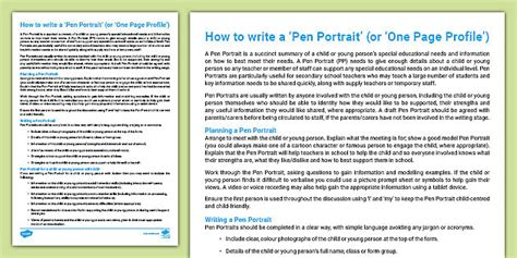 How To Write A Pen Portrait One Page Profile Guidance Sheet