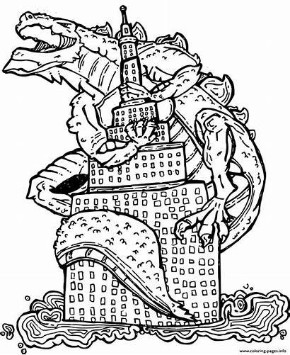 Coloring Godzilla Pages Building Printable Went