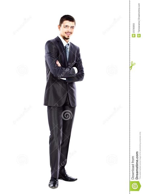 young business man full body isolated  white stock photo
