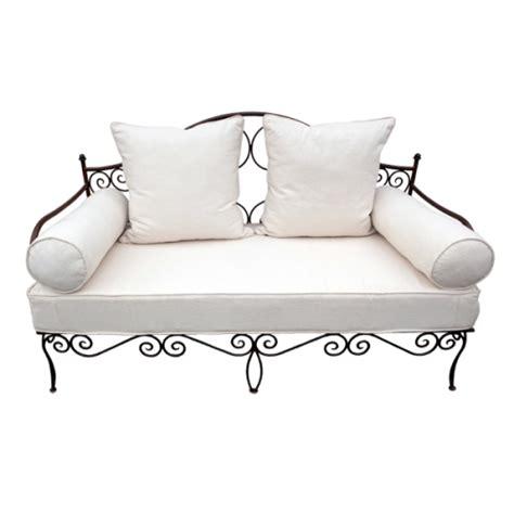 banquette fer forge canape salon jardin meridienne sofa