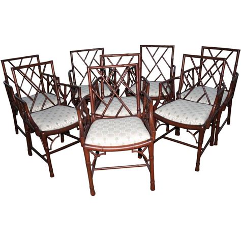 chippendale set of eight faux bamboo dining arm