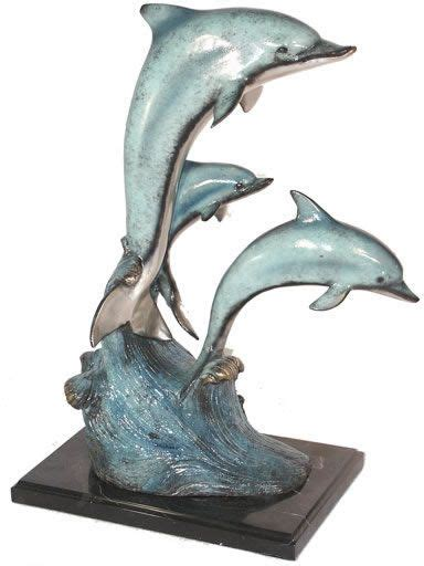 dolphin statues three dolphins on marble base sculpture in bronze available at allsculptures com dolphins