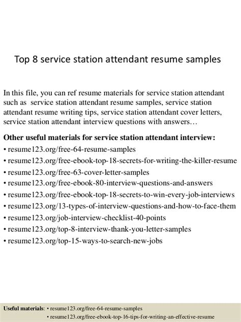 Gas Station Attendant Responsibilities Resume by Top 8 Service Station Attendant Resume Sles