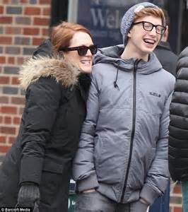 Julianne Moore larks about with her lookalike teenage son ...
