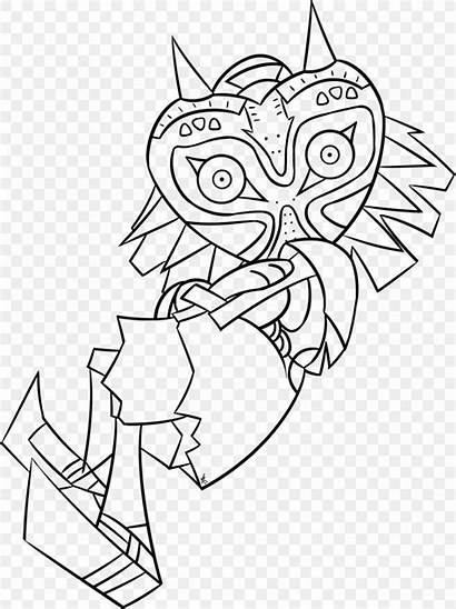 Zelda Coloring Mask Legend Drawing Majora Line