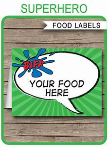 Printable Superhero Party Invitations Superhero Theme Food Labels Place Cards Party Decorations