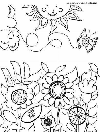 Coloring Garden Pages Flower Printable Flowers Sheets