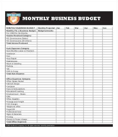 sample business budget templates word  excel