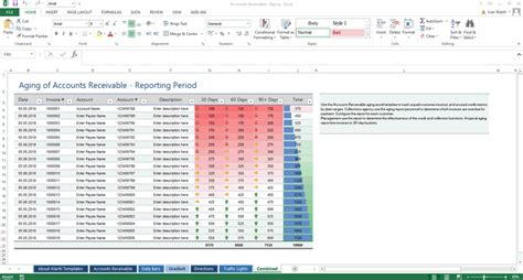 excel template aging  accounts receivable