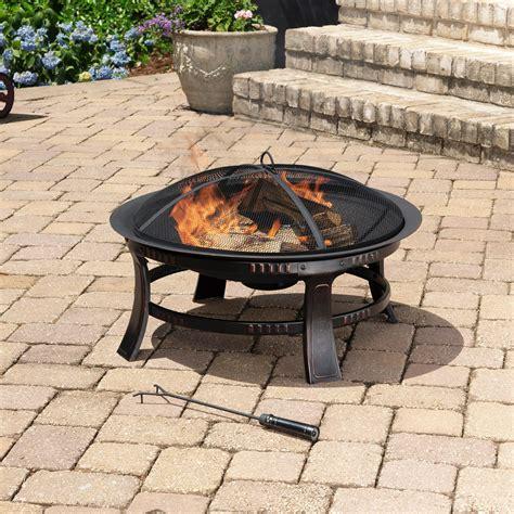 outdoor firepit amazon com pleasant hearth brant round fire pit 30 inch firepit garden outdoor