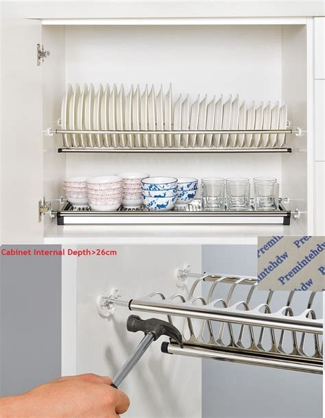 cm  tiers stainless steel cabinet cupboard  dish plate tableware drying rack storage