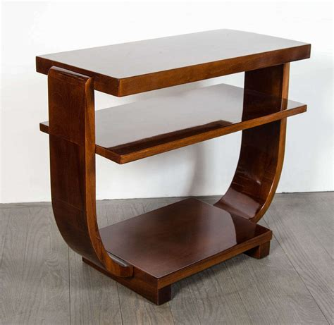 art deco side table art deco book matched walnut two tier side table at 1stdibs