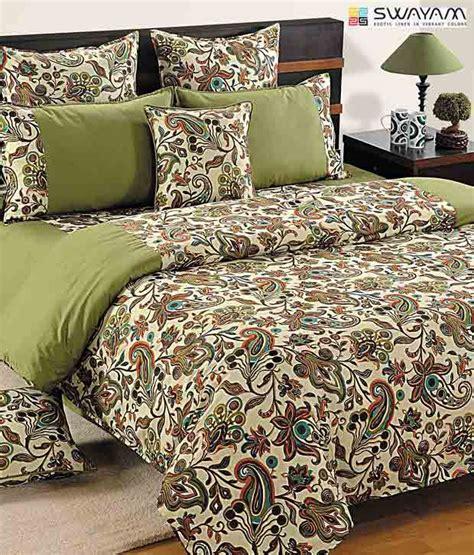 swayam olive green beige large paisley print bed sheet