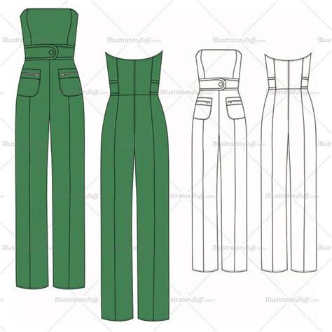 womens strapless jumpsuit fashion flat template