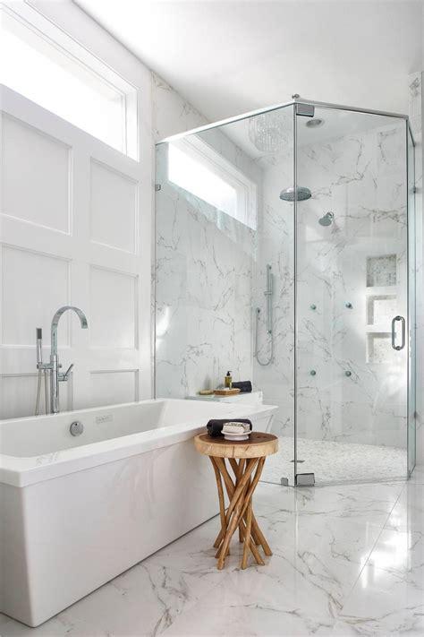contemporary master bath  white marble  glass