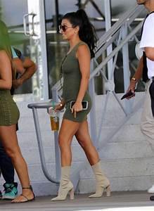 Steal Kourtney Kardashianu0026#39;s Miami My Style Mode Olive Green Ribbed Knit Lace Up Sleeveless ...